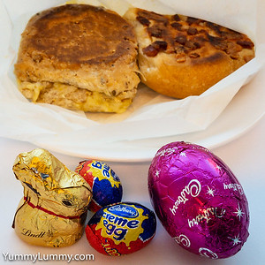 Lunch involved toasted cheese rolls plus Easter chocolate