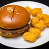 McDonalds truffle angus burger with potato gems