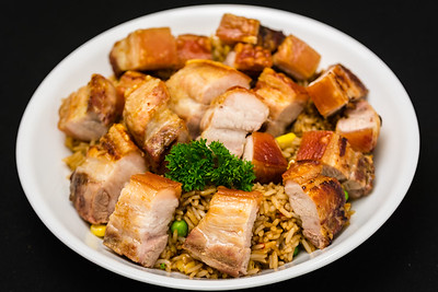 Crunchy belly pork with rice