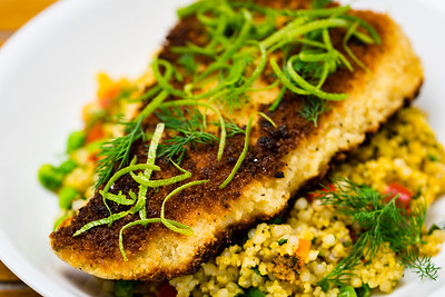 Panko crusted salmon with pearl barley couscous