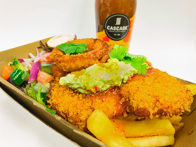 Chicken schnitzel Tuesday with onion rings