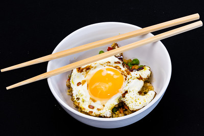 Pearl barley couscous and a fried egg