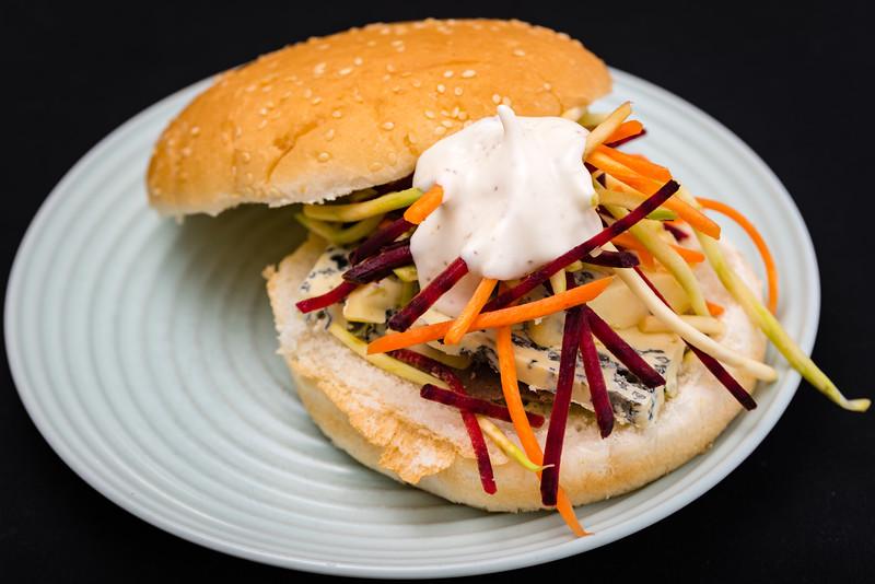 Pâté, blue cheese and coleslaw sandwich