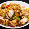 Roast pork rashers with crispy crackling and rice