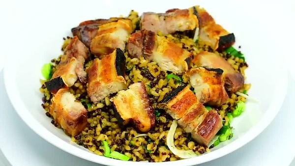 Pork belly quinoa rice