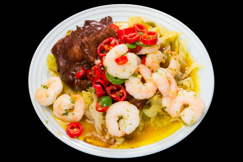 Reef and beef. Prawns and oyster blade steak with cabbage.