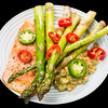 Salmon with asparagus and balsamic avocado
