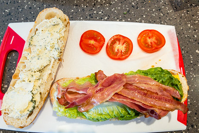 Preparing a BLT with two kinds of cheese