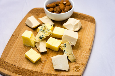 Three cheeses and almonds