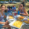 Larissa and Nicola with fish and chips at Sandgate