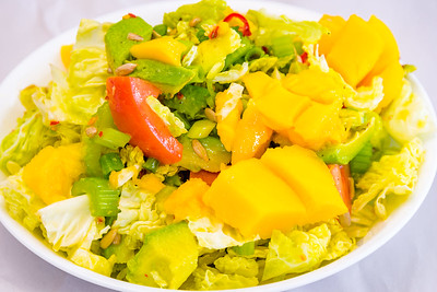 Meat-free mango and avocado spicy cabbage salad