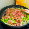 Tinned corned beef, celery and onions