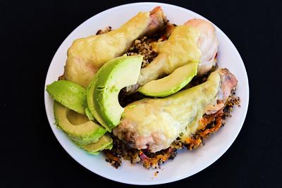 Chicken drumsticks with quinoa rice