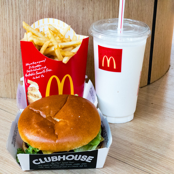 McDonald's burger, chips and milk shake