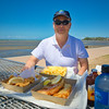 Gary with fish and chips at Sandgate