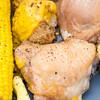 Chicken, beef mince, cauliflower cheese and sweet corn