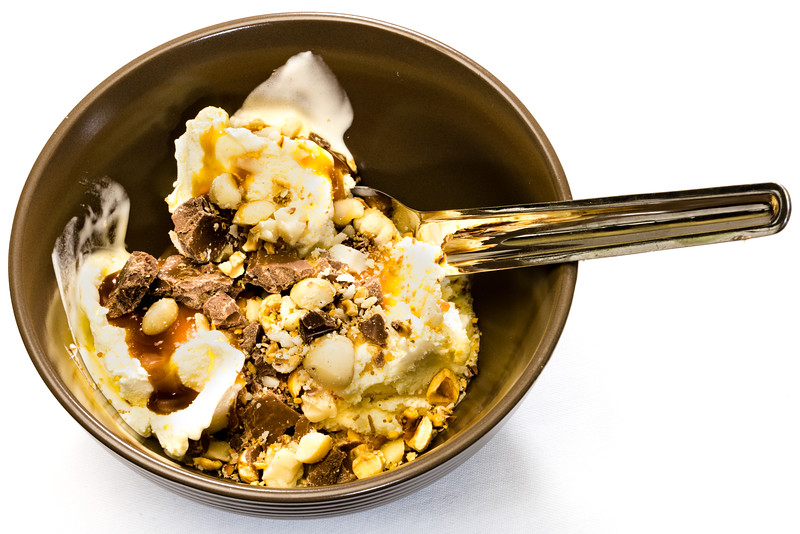 Vanilla ice cream, salted caramel topping, crushed Queensland nuts and chocolate