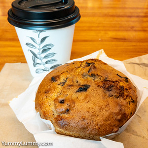 Blueberry muffin and coffee