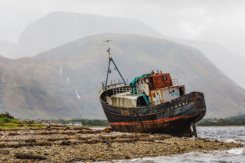 Corpach Shipwreck with Ben Nevis in the Background
