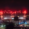 AH-64s and UH-60s from 101st Combat Aviation Brigade, 101st Airborne Division (Air Assault,) approach Met Life Stadium as fireworks go off just prior to flying over the stadium in East Rutherford, N.J., February 2, 2014. (U.S. Army photo by Sgt. Duncan Brennan, 101st CAB Public Affairs)