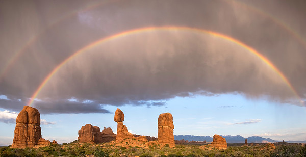 Double rainbow over Balanced Rock, Arches National Park