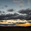 Moon at sunset in Mesquite Sand Dunes, Death Valley, CA.