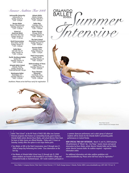 "National add for the Orlando Ballet Summer Intensive program 2008 - <a href=""http://www.orlandoballet.org"">http://www.orlandoballet.org</a>"