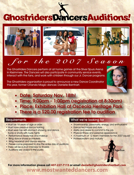 "The flyer has my photo of Danielle Barnhart the new Dance Coordinator for the Ghostriders Dancers. Go to the website   <br />  <a href=""http://mostwanteddancers.com"">http://mostwanteddancers.com</a> for more information."