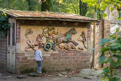 Boy near mural