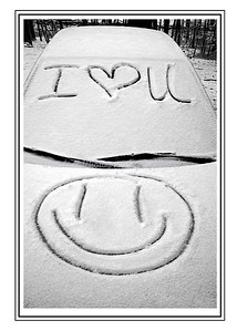 I Heart You in snow - Greeting Card