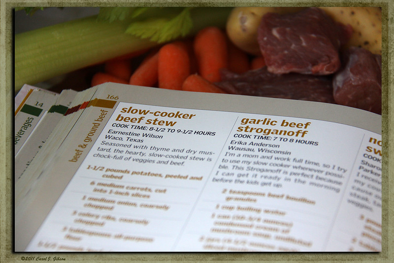 Day 3 - I decided to take pictures of books for my first full week of the project. Today is my cook book, and ingredients to make my husband's favorite meal. Beef Stew.