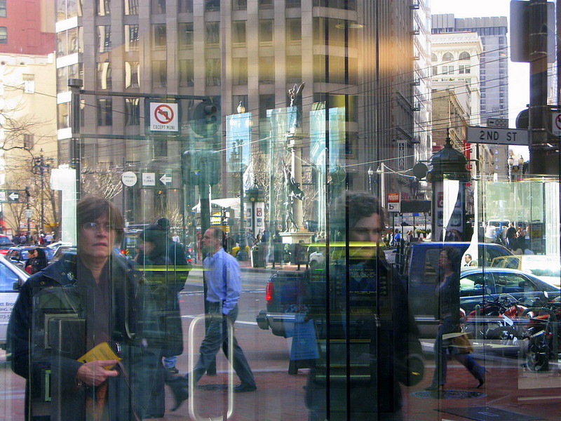 Bank window, Market St., San Francisco