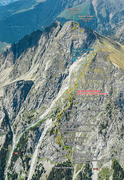 "The climb ""Klettersteig - via ferrata Heini Holzer"" on Ifinger peak in South Tyrol - Northern Italy"