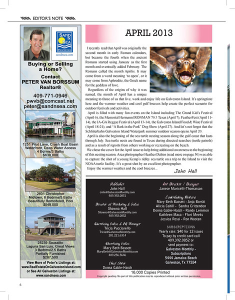 "I am thrilled to share that one of my sea turtle photos is on the cover of Galveston Monthly magazine!! There is also an article about me featuring several of my photos. All of the images in the article are available for purchase from this website. Galveston Monthly is a great local magazine; check it out at <a href=""http://galvestonmonthly.com"">http://galvestonmonthly.com</a>!"
