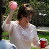 Mary Jo deploying the water balloon.