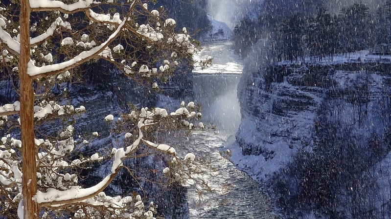 Snow falling at Inspiration Point , Letchworth.