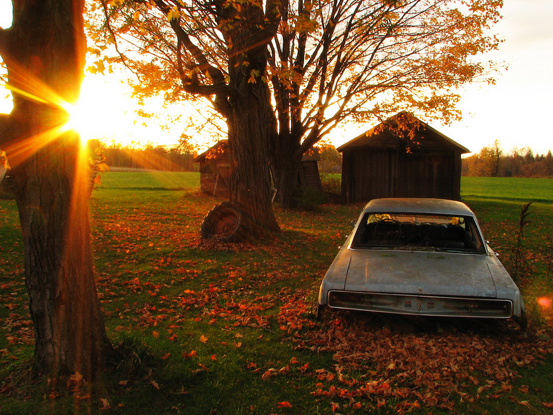 Abandoned Chrysler at sunset, Walworth NY.