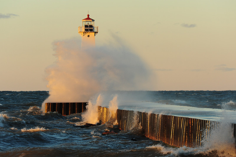 Windstorm on Lake Ontario at Sodus Point.