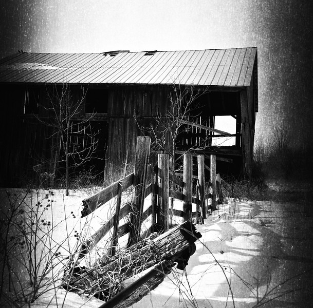 Funky barn #2 in black and white, Mount Morris NY