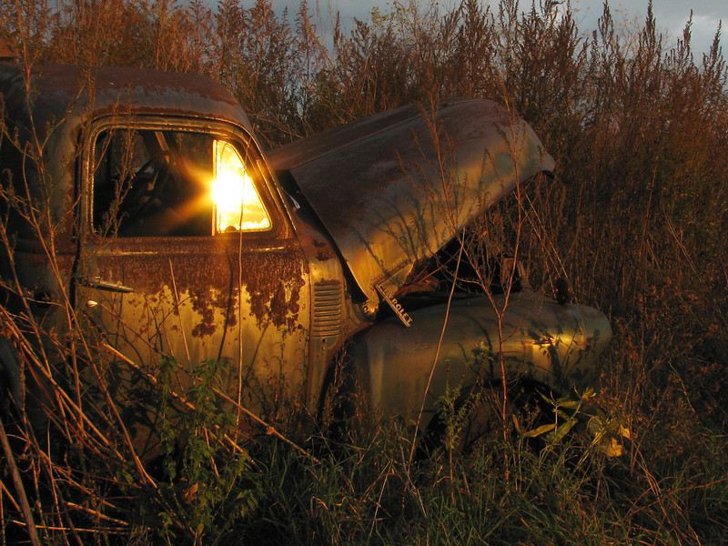Abandoned Chevy at sunset, Walworth NY.