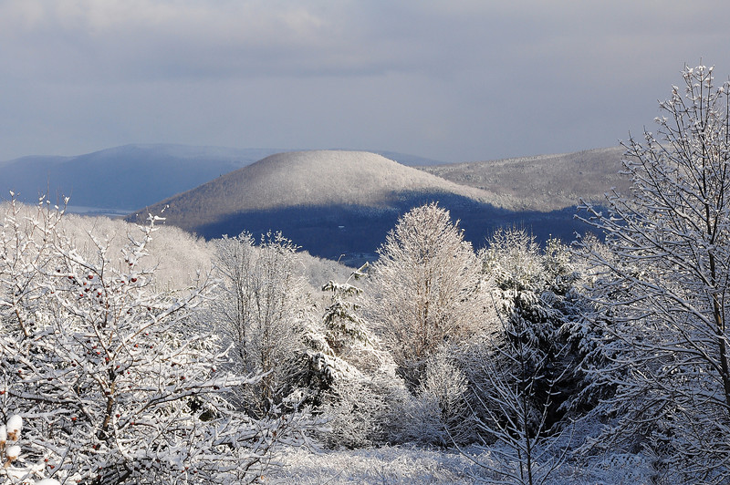 Snow in the hills south of Naples, NY.