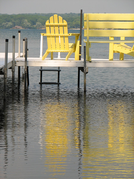 Yellow chair, Canoga Island, Cayuga Lake NY.