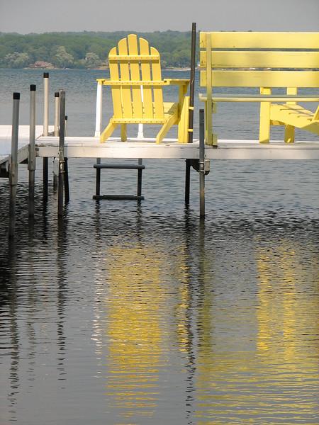Yellow chair, Canoga Island, Cayuga Lake NY.