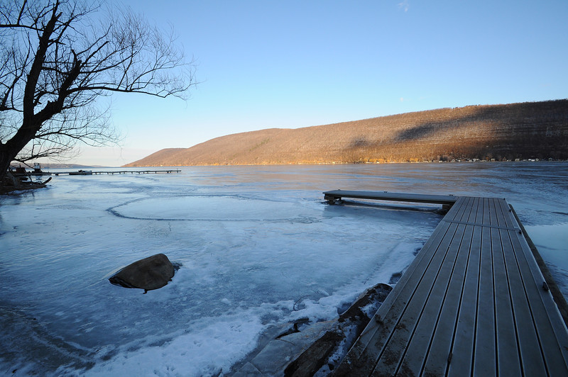 Canandaigua Lake ice near sunset.