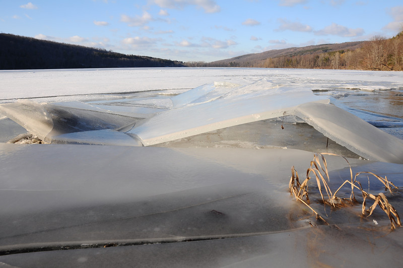 Ice breaking up on Canadice Lake.