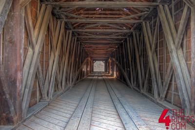 HDR shot inside the biggest single-span covered bridge in california.
