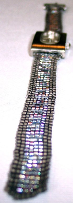 Beaded Watch Band - matt and irridescent seedbeads - 11/0