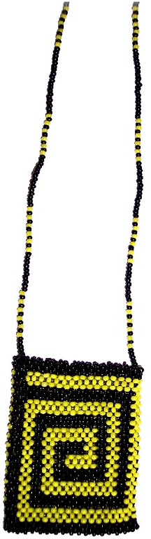Quarter Bag - flourescent yellow and black seedbeads 14/0