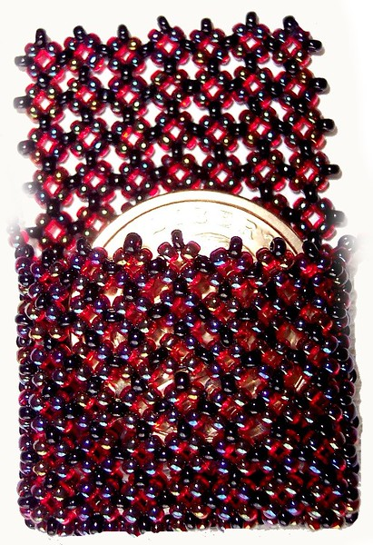 Quarter Bag - iridescent burgundy seedbeads 11/0