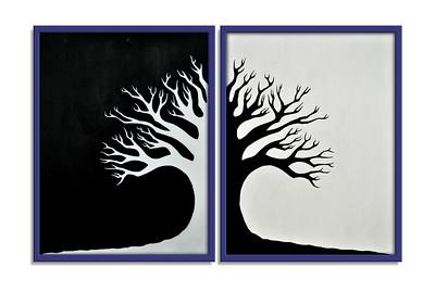 """Winter Tree"" - Acrylic on canvas - 2 X (80 cm x 60 cm) *** SOLD ***"